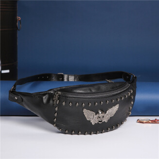 Ghost head studs men's waist bag waterproof PU leather chest bag