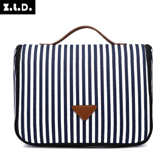 Women's Striped Cosmetic Bag Fashion Canvas Storage Bag Portable Large Capacity Toiletry Bag
