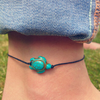17KM Fashion Brand Vintage Cut Tortoise Pendant Anklet Beach Foot Leather Chain 2020 New Summer Anklets Foot Jewelry Gift