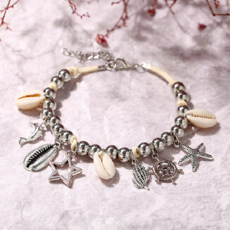 17KM Shell Starfish Dolphin Star Pendant Anklets For Women Stone Beads Sea Shell Anklet Bohemian Bracelets On Leg Beach Jewelry