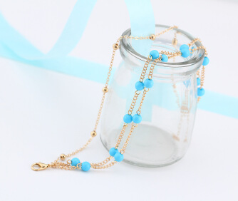 17KM Brass Anklet Blue Stone 1.5Inch extender chain plated twist chain woman 2-strand nickel lead cadmium free Approx 8.6 Inch Strand