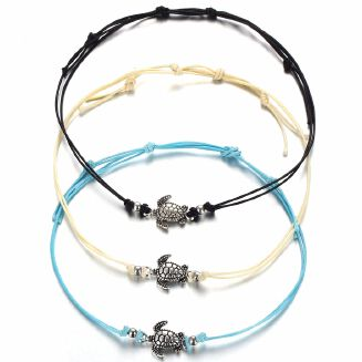17KM 3 Pcs/Set Boho Hand Braided Ankle Bracelet Cute Cuckold Foot Halhal Jewelry For Women Anklet Beach Jewelry Accessories