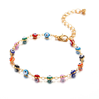 17KM Bohemian Colorful Turkish Eyes Anklets for Women Gold Color Beads Summer Ocean Beach Ankle Bracelet Foot Leg Jewelry