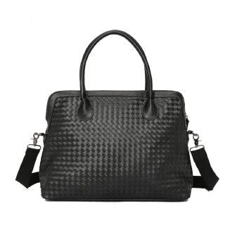 Business men's handbag woven PU leather briefcase