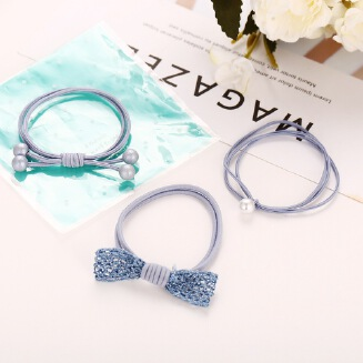 17KM 3 Pcs/Set High Elastic Hair Bands Solid Pearl Stretch Hair Ties For Women Girls Ponytail Holder Hair Ropes Hair Accessories