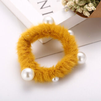 17KM Autumn Winter New Imitation Rabbit Hair Rope Ins Candy Color Pearl Plush Hair Ring Head Rope Headwear Hair Accessories For Girls