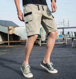 Men's summer casual cotton tooling shorts loose sports five-point pants