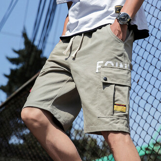 Men's summer casual thin tooling shorts loose sports cotton five-point pants