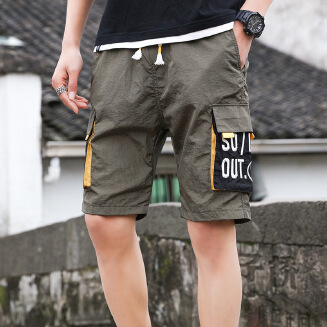 Men's summer casual five-point pants loose multi-pocket tooling shorts