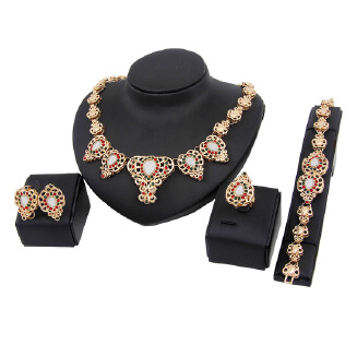 Hot jewelry set Europe and the United States fashion high-end gold-plated diamond four-piece dress accessories JX0905 A1305