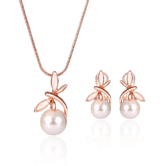 Cross-border e-commerce explosions European and American fashion Pearl Necklace Earrings Set Bride Banquet Jewelry Set JX0905 61172334