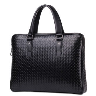 Woven pattern portable soft handle business briefcase men's cross-body cross-body computer bag
