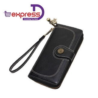 Elizabeth Women Large Capacity Leather Purse Clutch Wallet Tri-fold Checkbook with Phone Pocket