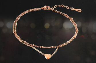 Japanese and Korean fashion double - layer love beach anklet outai steel heart gift foot ornaments