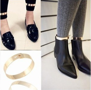 European and American aura retro exaggerated metal smooth face bright face gold foot ring punk style anklets anklets