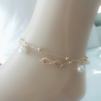 436-2 word double pearl anklet Japan and Korea small fresh ornaments ladies alloy anklet sell like hot cakes leg ornaments
