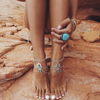 American foreign trade ornaments antique national wind hollow out pine stone water drop beach anklet foot ornaments fast sell through hot style