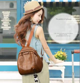 Women's Fashion Trendy Bear Pendant Simple Solid Color Waterproof Breathable Backpack - XARID