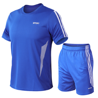 Men's quick-drying sports suits two-piece T-shirt shorts short-sleeved fitness running clothes