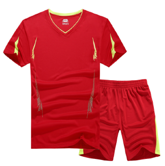 Men's short-sleeved thin sports suit quick-drying T-shirt shorts fitness running clothes two-piece suit