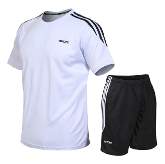 Men's two-piece short-sleeved T-shirt shorts round neck casual suit running fitness clothes