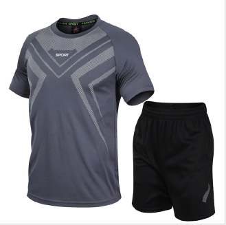 Men's short-sleeved fitness sports suit quick-drying lightweight T-shirt shorts two-piece suit