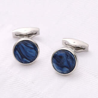 Colorful blue metal round cufflinks JX0622 005