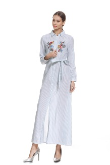 sharechic Arab ethnic style long-sleeved striped embroidered single-breasted lace maxi dress
