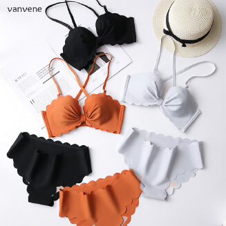 Vanvene seamless bra set bow wave bikini underwear women cross back V8112
