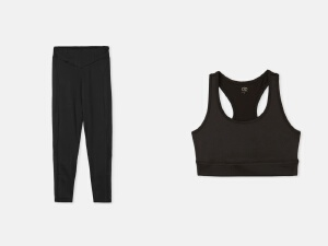 sports bra with long sports leggings