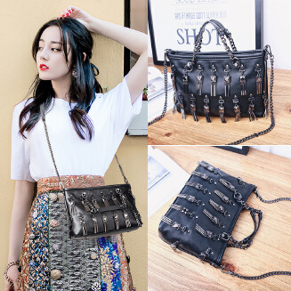 Tassel Chain Bag Pouch Female Fashion Handbag Shoulder Messenger Bag Rivet Bag JX0626 7666