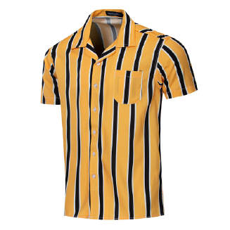 Dess90 large size spring and autumn new men's vertical stripes cotton casual short-sleeved shirt A56
