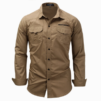 Dess90 3XL Large Size Men's Long Sleeve Lapel Shirt Cotton Outdoor Military Casual Pocket Shirt A116