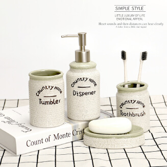 Simple rust ceramic bathroom set Washing bathroom supplies set of four Mouth cup brushing cup set JX1201 JS170111
