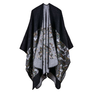 Fashion camouflage slit shawl Black