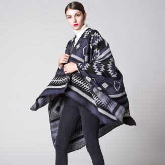 Geometric puzzle simple fashion shawl Black