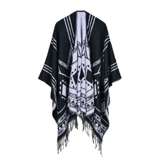 Geometric diagonal split tassel shawl White