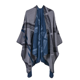 Cashmere-shaped diamond plaid shawl Blue