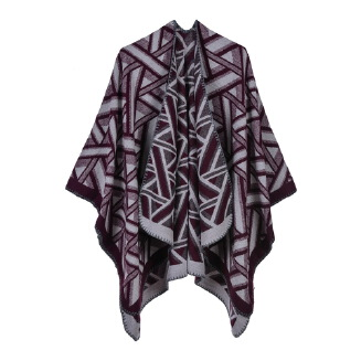 Geometric triangle warm cloak Red