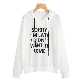 Women Autumn Long-Sleeved Letters Printed Loose Hoodies for Campus Dating Sports