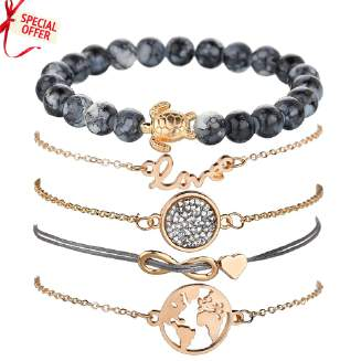 D61320 -FD BIG SALE OFFER Jewelry 5pcs/set Letters Love World Map Turtle Charm Bracelets For Women 2018 New Vintage Beads Bracelet Set Jewelry Gift tp0416 EID Jewelry 0512 PFLNKS FD0818 Day03