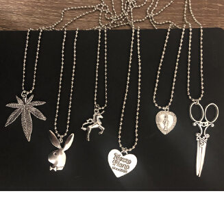 ABC ins the same section of the cross leaf heart Scissors Play rabbit Boy head Stainless Steel Necklace Choker Unicorn LoveJesus JX0905 032 JX0731