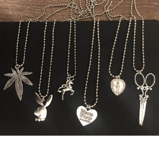 ABC ins the same section of the cross leaf heart Scissors Play rabbit Boy head Stainless Steel Necklace Choker Unicorn LoveJesus JX0905 032