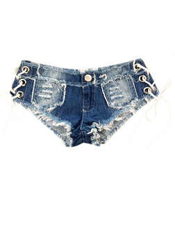 Women Stylish Sexy Jeans Shorts Knotted Band Low-waist Short Pants for Sex Game Nightclub Gift