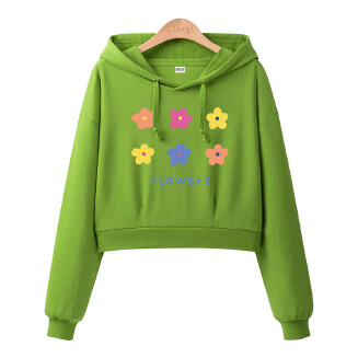 Women Short Style Floret Printing Thin Long Sleeve Pullover Hooded Sweatshirts for Atumn