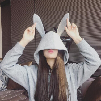 Women Rabbit Ears Fleece Lined Loose Casual Hooded Pullover Coats for Autumn Winter