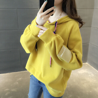 Women Loose Thickening Fleece Lined Casual Sport Hooded Pullover for Autumn Winter