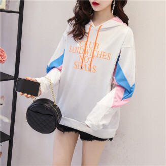 Schoolgirl Women Hooded Top Thin Loose Long-sleeved Sweet Daily Wear Autumn Spring Available Hoodie
