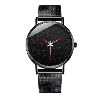 Men Simple Classic Casual Business Pointer Mesh Stainless-Steel Strap Quartz Watch