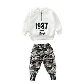2pcs Boy Kids Clothes Suits Long Sleeve Shirts +Camouflage Trousers